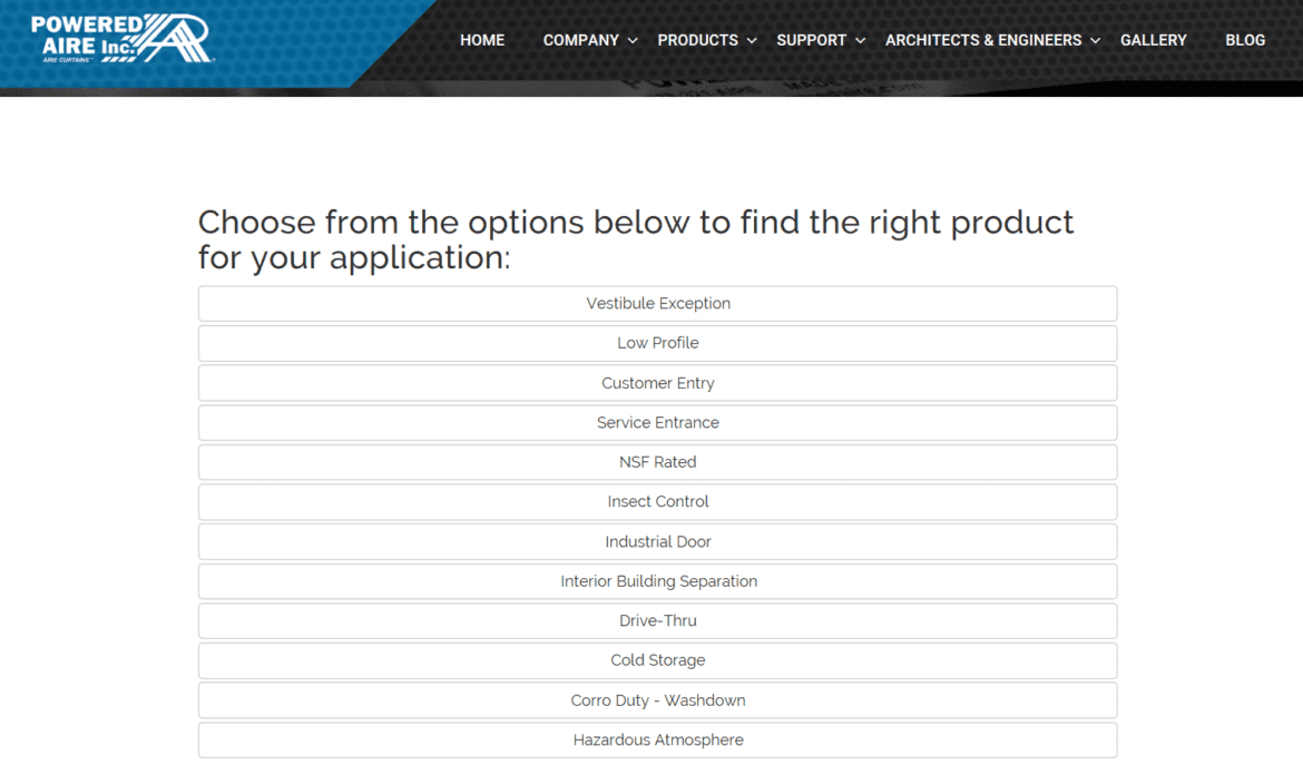 Powered air product select
